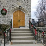 Entrance decorated for Christmas